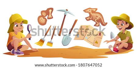 Kids playing in archaeologists working on paleontology excavations digging soil with shovel and exploring artifacts with magnifying glass. Children study dinosaurs fossil. cartoon vector illustration Сток-фото ©