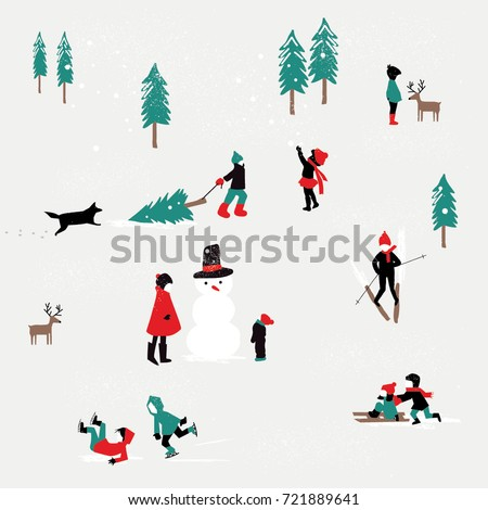 Stock Photo KIDS PLAYING IN THE SNOW, WINTER CHRISTMAS PATTERN. Editable and repeatable design pattern or greeting card for the holidays. Vector illustration file.