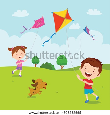 kids playing kites vector