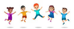 kids playing outside. kids jumping. group of children