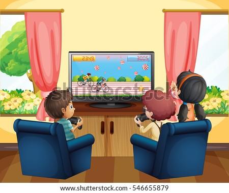 kids playing racing game on tv