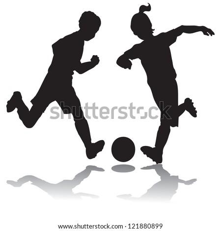 Girl Soccer Silhouette Vector Kids playing soccer silhouette
