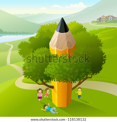 Kids Playing Under Pencil Tree