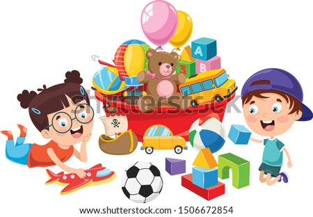 Kids Playing With Various Toys Сток-фото ©