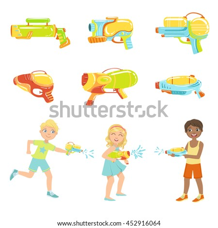 kids playing with water pistols