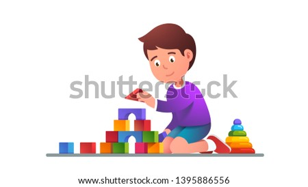 Kids playing wooden blocks building tower and sort & stack toys. Smiling absorbed child plays educational development game. Flat vector character illustration
