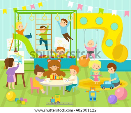 Kids playroom kindergarten with furniture decor playground and toys on the floor carpet decorating flat style cartoon comfortable interior vector illustration.