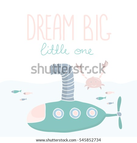 kids poster with submarine and