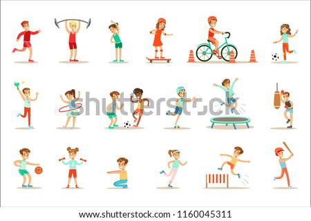 Kids Practicing Different Sports And Physical Activities In Physical Education Class Gym And Outdoors. Children Playing Football, Table Tennis, Basketball And Doing Athletic Exercises.