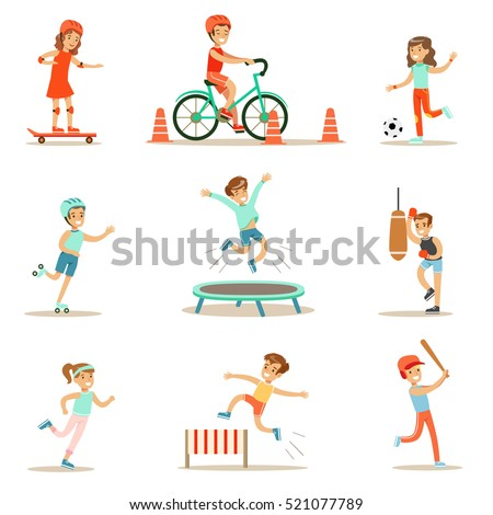 Kids Practicing Different Sports And Physical Activities In Physical Education Class Gym And Outdoors. Children Playing Football, Baseball, Riding Bicycle And Boxing.