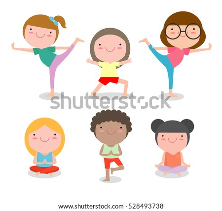 Kids Practicing Yoga Happy Cartoon Children Child Exercises Healthy Lifestyle