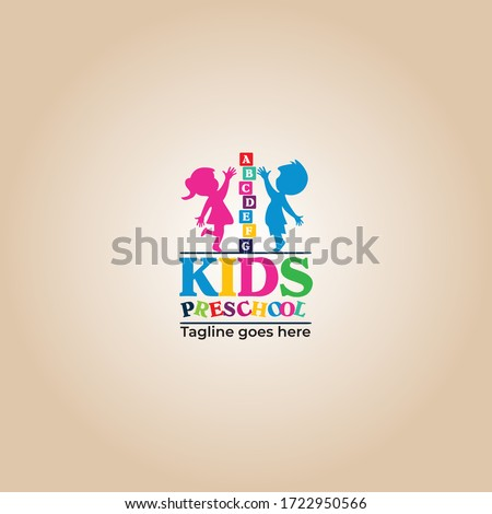 Kids preschool vector logo design, Kids Montessori school logo design