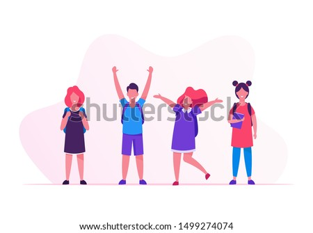 Kids Pupils with Backpacks Rejoice with Hands Up Standing in Row. Group of Children Come to School to Get Education. Happy Crowd of Classmates Girls and Boys in Line Cartoon Flat Vector Illustration