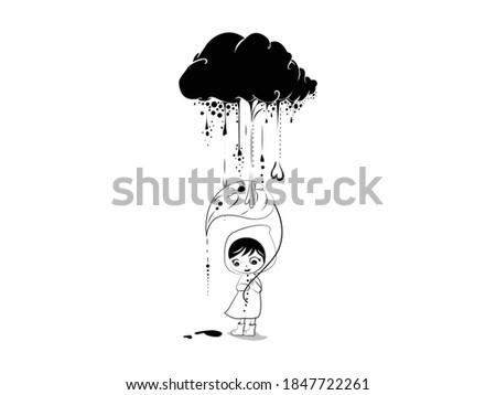 kids rain cloud icon vector