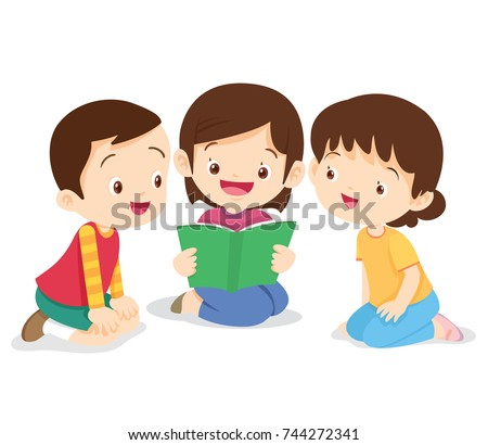 kids reading book,boy and girl sit and read book.Childern  listen friend reading a book.