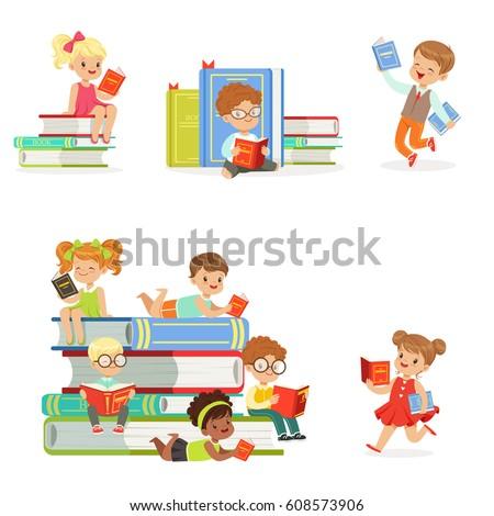 kids reading books and enjoying