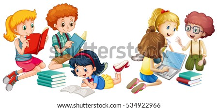 Kids reading books and working on computer illustration