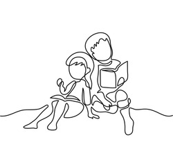 Kids reading books. Back to school concept. Continuous line drawing. Vector illustration on white background