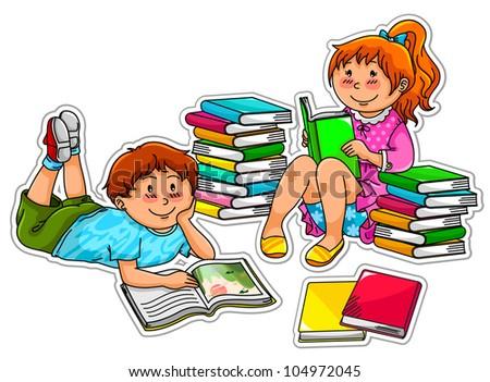 Kids Reading Vector Kids Reading Books Each Kid