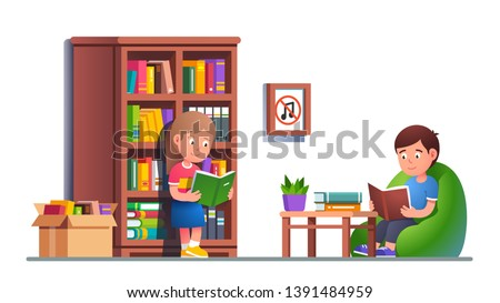 Kids reading books in library. Sitting on bean bag chair and standing leaning to big bookcase holding books. Boy & girl studying in classroom absorbing knowledge. Flat vector character illustration