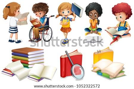 Kids reading books on white background illustration
