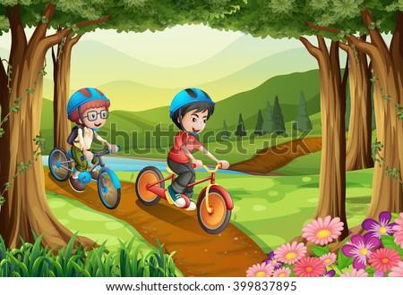 stock vector kids riding in the park 399837895 - Каталог — Фотообои «Для детской»