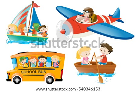 Kids riding on different types of transportation illustration