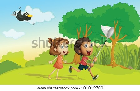 Kids running in the park with net