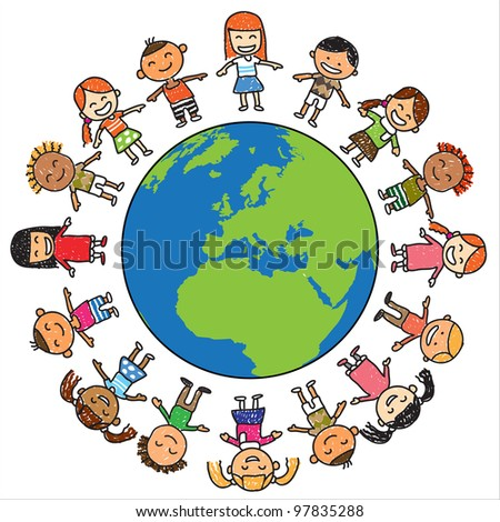 Kids save the earth vector