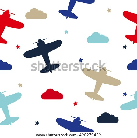Kids seamless pattern with airplanes, stars and clouds colorful. White background. Baby pattern.