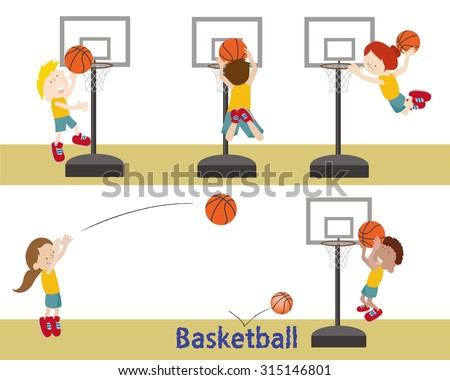 kids shooting a basketball into