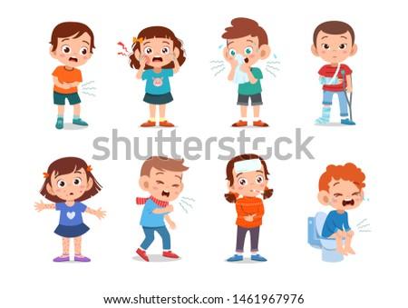kids sick unhealthy vector illustration
