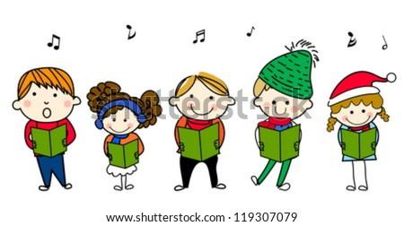Children Singing Carols Vector - Download Free Vector Art, Stock ...