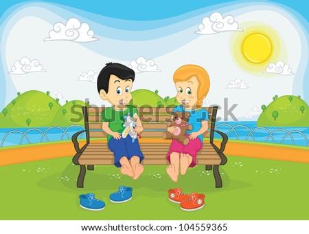 Kids sitting on bench vector illustration