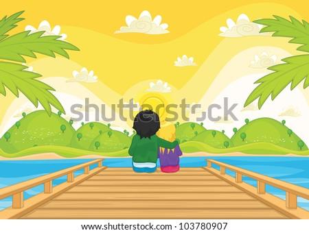 kids sitting on pier