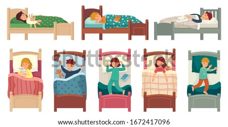 Kids sleeping in beds. Child sleeps in bed on pillow, young boy and girl asleep. Bedtime vector illustration set kids boy and girl, teen various sleeping pose in bed, lying and relax