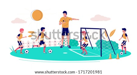Kids soccer school, vector flat illustration. Coach teaching children to play soccer game on field. Football coaching, children soccer training.