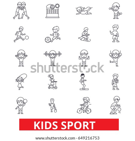 Kids sport, play, children sports, football, basketball, running, jumping, team line icons. Editable strokes. Flat design vector illustration symbol concept. Linear signs isolated on white background