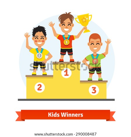 Kids sport winners standing on podium with medals and gold shining cup Colorful vector illustration