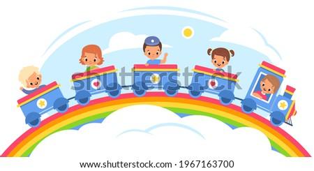 kids steam train happy