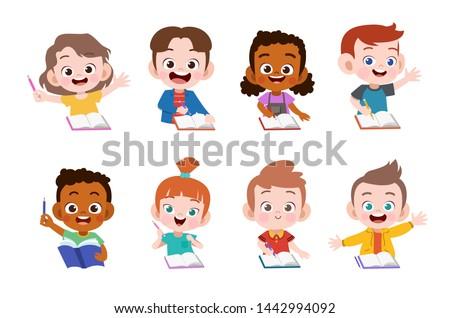 kids study together happy vector illustration