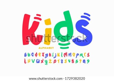 Kids style colorful font design, playful childish alphabet, letters and numbers vector illustration