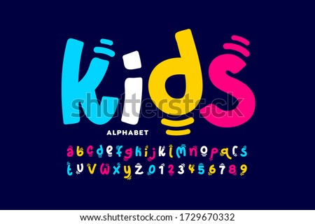 Kids style colorful font design, playful childish alphabet, letters and numbers vector illustration Stock photo ©