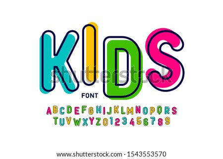 Kids style colorful font, playful alphabet letters and numbers vector illustration