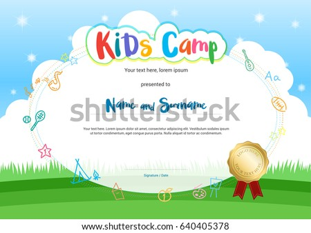 Diploma certificate for kids download free vector art stock kids summer camp diploma or certificate with cartoon style background yadclub Gallery