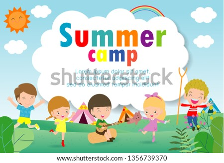 kids summer camp education Template for advertising brochure, children doing activities on camping, poster flyer template, your text ,Vector Illustration