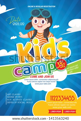 Kids Summer Camp Fest activities of banner poster design template for