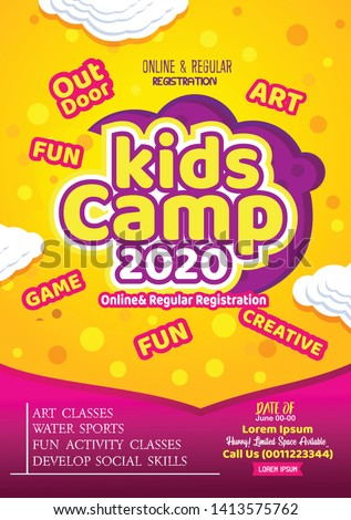 Kids Summer Camp Fest activities of of banner poster design template