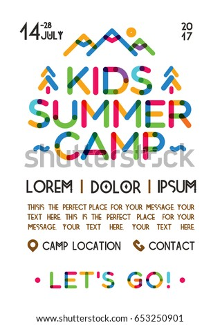 Kids summer camp poster with nature landscape consisting of mountains, trees color line style for holiday party, kids camping, fest etc. Vector Illustration