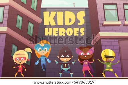 Kids superheroes vector illustration with team of comic cartoon characters dressed in superheroes costumes on isometric urban background